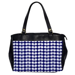 Blue And White Leaf Pattern Oversize Office Handbag (one Side) by creativemom