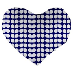 Blue And White Leaf Pattern 19  Premium Heart Shape Cushion by creativemom