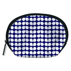 Blue And White Leaf Pattern Accessory Pouch (medium) by creativemom
