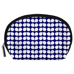 Blue And White Leaf Pattern Accessory Pouch (large) by creativemom