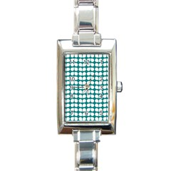 Teal And White Leaf Pattern Rectangular Italian Charm Watch by creativemom