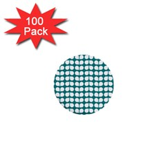 Teal And White Leaf Pattern 1  Mini Button (100 Pack) by creativemom