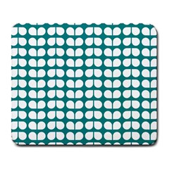 Teal And White Leaf Pattern Large Mouse Pad (rectangle) by creativemom