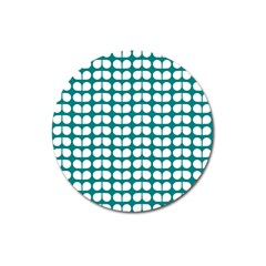 Teal And White Leaf Pattern Magnet 3  (round) by creativemom