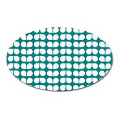 Teal And White Leaf Pattern Magnet (oval) by creativemom