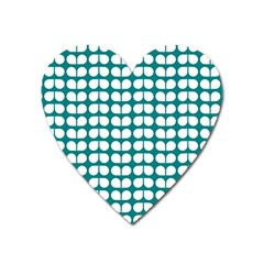 Teal And White Leaf Pattern Magnet (heart) by creativemom