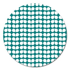 Teal And White Leaf Pattern Magnet 5  (round) by creativemom