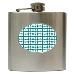 Teal And White Leaf Pattern Hip Flask by creativemom