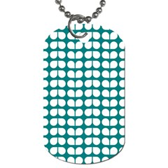 Teal And White Leaf Pattern Dog Tag (two Sided)  by creativemom