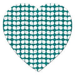 Teal And White Leaf Pattern Jigsaw Puzzle (heart) by creativemom