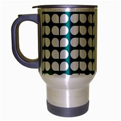Teal And White Leaf Pattern Travel Mug (silver Gray) by creativemom