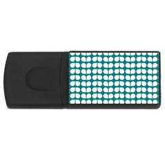 Teal And White Leaf Pattern 4gb Usb Flash Drive (rectangle) by creativemom
