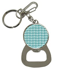 Teal And White Leaf Pattern Bottle Opener Key Chain by creativemom