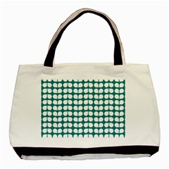 Teal And White Leaf Pattern Classic Tote Bag by creativemom