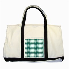 Teal And White Leaf Pattern Two Toned Tote Bag by creativemom