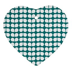 Teal And White Leaf Pattern Heart Ornament (Two Sides) by creativemom