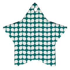 Teal And White Leaf Pattern Star Ornament (two Sides) by creativemom