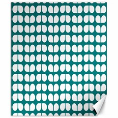 Teal And White Leaf Pattern Canvas 8  X 10  (unframed) by creativemom