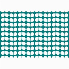 Teal And White Leaf Pattern Canvas 24  X 36  (unframed) by creativemom