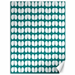 Teal And White Leaf Pattern Canvas 36  X 48  (unframed) by creativemom