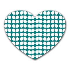Teal And White Leaf Pattern Mouse Pad (heart) by creativemom