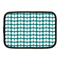 Teal And White Leaf Pattern Netbook Sleeve (medium) by creativemom