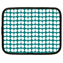Teal And White Leaf Pattern Netbook Sleeve (large) by creativemom