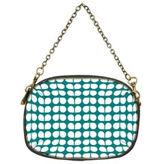 Teal And White Leaf Pattern Chain Purse (one Side) by creativemom