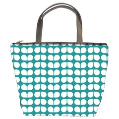 Teal And White Leaf Pattern Bucket Handbag by creativemom