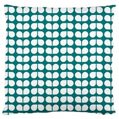 Teal And White Leaf Pattern Large Cushion Case (single Sided)  by creativemom