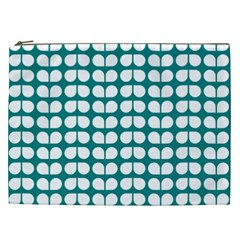 Teal And White Leaf Pattern Cosmetic Bag (xxl) by creativemom