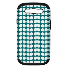 Teal And White Leaf Pattern Samsung Galaxy S Iii Hardshell Case (pc+silicone) by creativemom