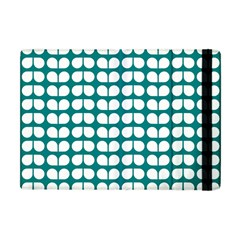 Teal And White Leaf Pattern Apple Ipad Mini Flip Case by creativemom