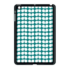 Teal And White Leaf Pattern Apple iPad Mini Case (Black) by creativemom