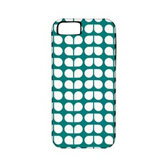 Teal And White Leaf Pattern Apple Iphone 5 Classic Hardshell Case (pc+silicone) by creativemom