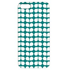 Teal And White Leaf Pattern Apple Iphone 5 Hardshell Case With Stand by creativemom