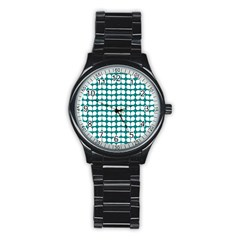 Teal And White Leaf Pattern Sport Metal Watch (black) by creativemom