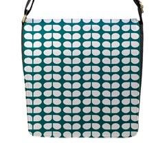 Teal And White Leaf Pattern Flap Closure Messenger Bag (large) by creativemom