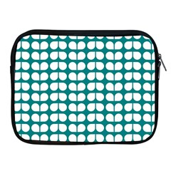 Teal And White Leaf Pattern Apple Ipad Zippered Sleeve by creativemom