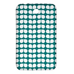 Teal And White Leaf Pattern Samsung Galaxy Tab 3 (7 ) P3200 Hardshell Case  by creativemom