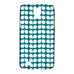 Teal And White Leaf Pattern Samsung Galaxy S4 Active (i9295) Hardshell Case by creativemom