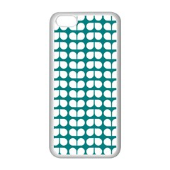 Teal And White Leaf Pattern Apple Iphone 5c Seamless Case (white) by creativemom
