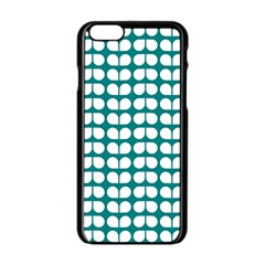 Teal And White Leaf Pattern Apple Iphone 6 Black Enamel Case by creativemom