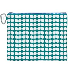 Teal And White Leaf Pattern Canvas Cosmetic Bag (xxxl) by creativemom