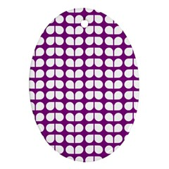 Purple And White Leaf Pattern Oval Ornament by creativemom