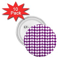 Purple And White Leaf Pattern 1 75  Button (10 Pack) by creativemom