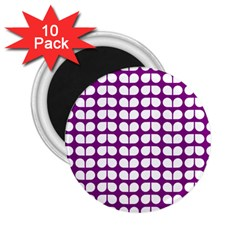 Purple And White Leaf Pattern 2 25  Button Magnet (10 Pack) by creativemom
