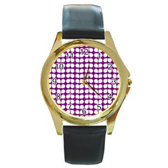 Purple And White Leaf Pattern Round Leather Watch (gold Rim)  by creativemom