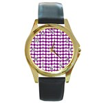 Purple And White Leaf Pattern Round Leather Watch (Gold Rim)  Front