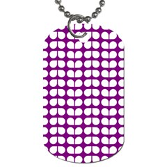Purple And White Leaf Pattern Dog Tag (two Sided)  by creativemom